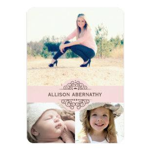 Lovely Then and Now Photo Graduation Party | Pink Invitation