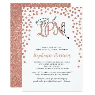 LPN nurse graduation rose gold confetti pinning Invitation