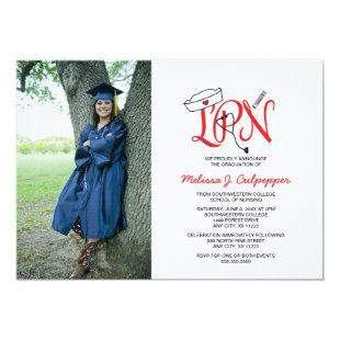 LPN Nurse photo graduation pinning party / red Invitation