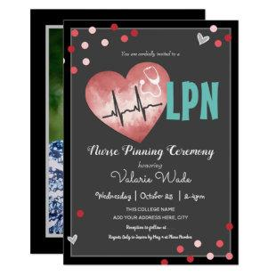 LPN Nurse Pinning Ceremony Hearts and Confetti Invitation