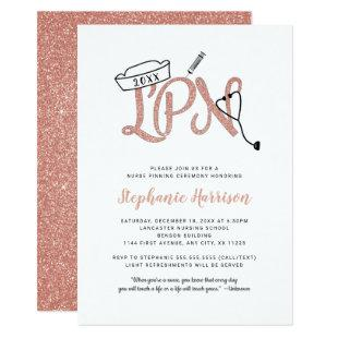 LPN pinning ceremony invitation, rose gold glitter Invitation