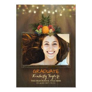Luau Pineapple Photo Graduation Party Announcement