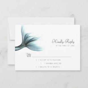Luxe Turquoise Mint   Elegant Mermaid Tail RSVP Card
