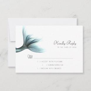 Luxe Turquoise Mint | Elegant Mermaid Tail RSVP Card
