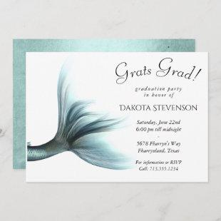 Luxe Turquoise Mint Mermaid Tail | Graduation Invitation