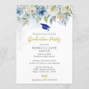 Luxury Gold and Blue Glitter Hat Graduation Party Invitation