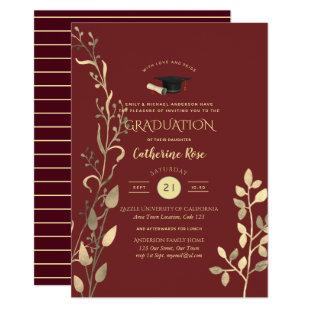 Magenta Gold GRADUATION Ceremony Party Invitation
