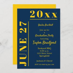 Maize Yellow and Blue Graduation Party Invitations