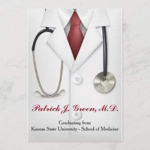 Male Doctor Graduation Invitation - Medical School