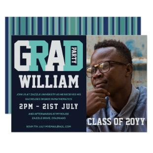 Male GRADUATION PHOTO invitation Blue Turquoise