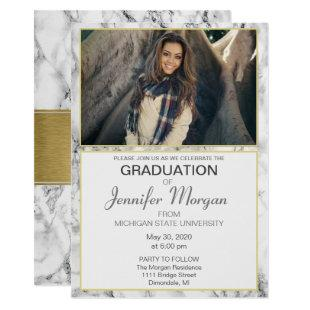 Marble and Gold Graduation Announcement