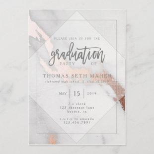 MARBLE AND ROSE GOLD GRADUATION INVITATION
