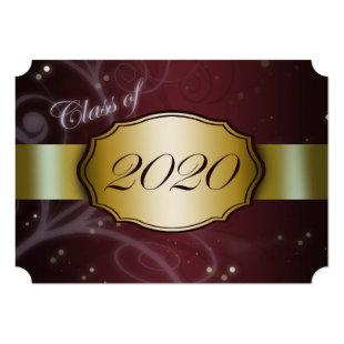 Maroon and Gold 2020 Graduation Invitations