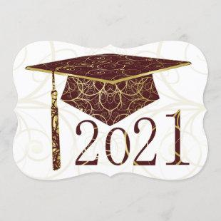 Maroon and Gold Floral Cap 2021 Card