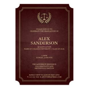 Maroon and Gold Law School Graduation Invitation