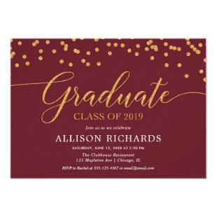 Maroon burgundy and gold elegant graduation party invitation