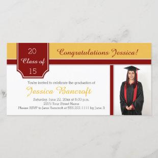 Maroon Burgundy Gold Photo Graduation Party Invite