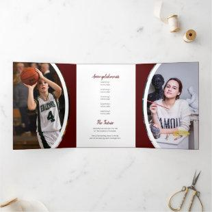 Maroon Curved Frame Three Photo Graduation Tri-Fold Invitation