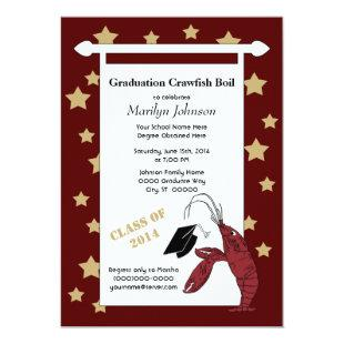 Maroon Gold Crawfish / Lobster Stars Graduation Invitation