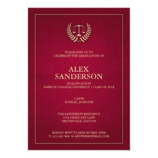 Maroon+Gold Justice Scales Law School Graduation Invitation