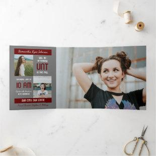 Maroon Modern Block 5-Photo Graduation Tri-Fold Invitation