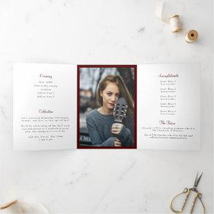 Maroon Tassel Graduation Photo Tri-Fold Invitation