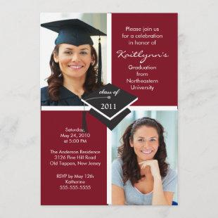 Maroon & White Photo Graduation Invitation