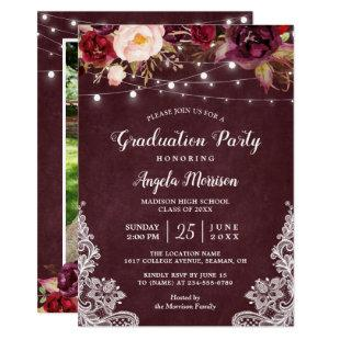 Marsala Floral Lace String Lights Photo Graduation Invitation