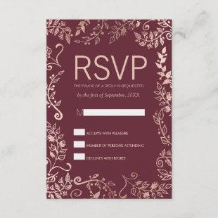 Marsala Red Rose Gold Floral RSVP Cards