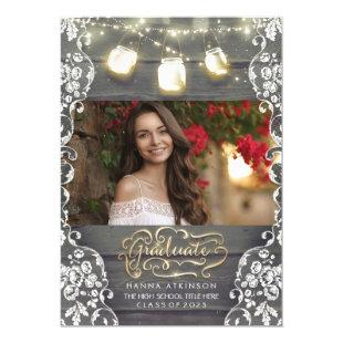 Mason Jar Lights Rustic Photo Graduation Party Invitation