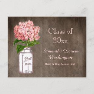 Mason Jar & Pink Hydrangea Rustic Graduation Party Invitation