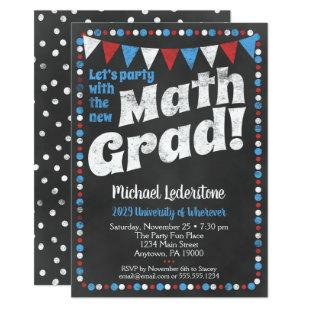 Mathmatics Graduation Party Invitation Red Blue