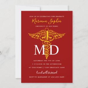 MD Doctor of Medicine Graduation Red and Gold Invitation
