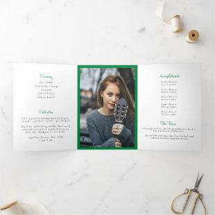 Mean Green Tassel Graduation Photo Tri-Fold Invitation
