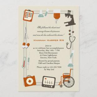 Medical Frame Nursing School Graduation Invitation