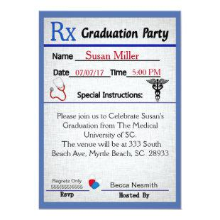 Medical Prescription Pad Graduation Invitation