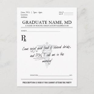 Medical Student Graduation Prescription Pad Invite