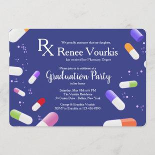 Medicine Capsules Graduation Party Invitation
