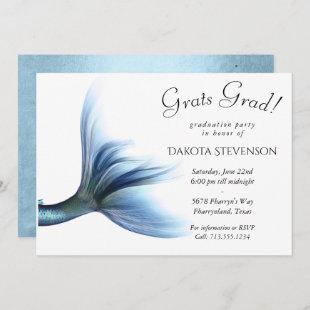 Mermaid Glitzy Glam | Soft Pastel Blue Graduation Invitation