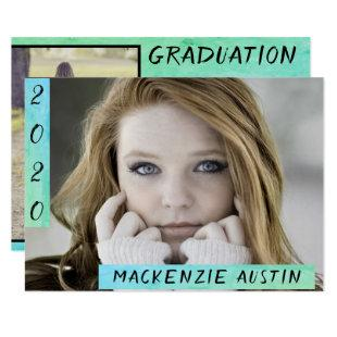Mermaid Graduation | Blue Green Ombre Photo Party Invitation