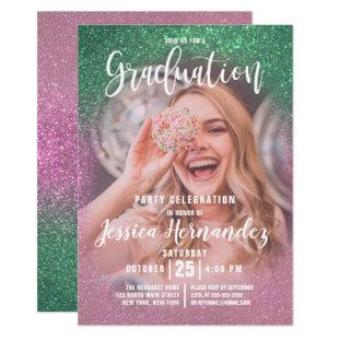 Mermaid Pink Triple Glitter Photo Graduation Invitation