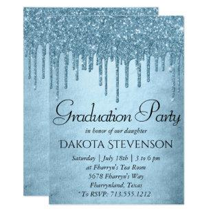 Metallic Ice Blue Drip | Glitzy Glam Graduation Invitation