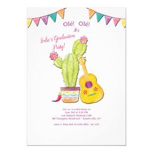 Mexican Guitar Graduation Party Invitation
