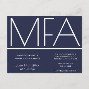 MFA degree Graduation Party Invitation Postcard