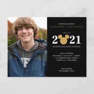 Mickey Mouse Black & Gold Graduation Announcment Announcement Postcard