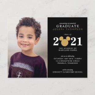 Mickey Mouse Gold and Black Preschool Graduation Announcement Postcard