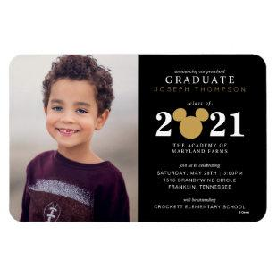 Mickey Mouse Gold and Black Preschool Graduation Magnet