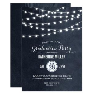 Midnight String Lights Graduation Party Invitation