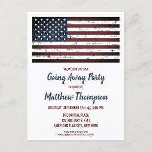 Military Going Away Party Patriotic America Flag Announcement Postcard