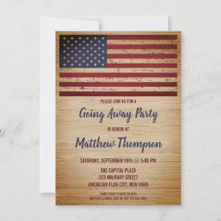 Military Going Away Party Patriotic American Flag Invitation